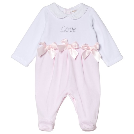 Mintini Baby White and Pink Love Footed Baby Body White/Pink