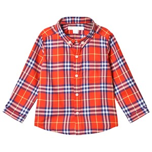 Image of Burberry Orange Plaid Fred Shirt 12 months (3125269479)