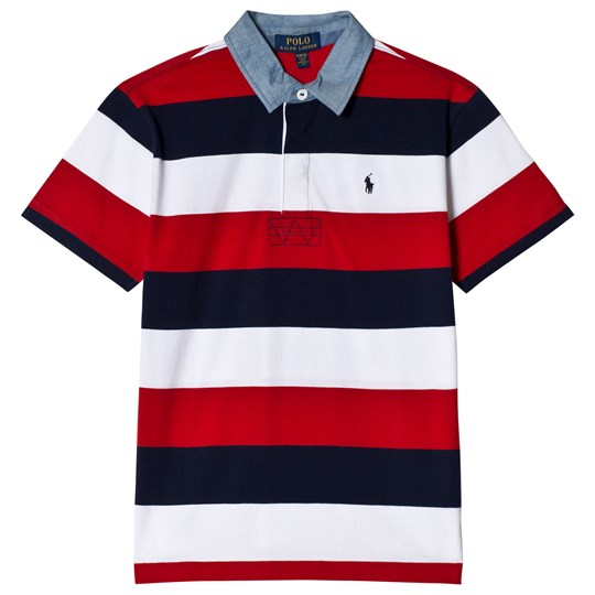 Ralph Lauren Red, Nacy and White Jersey Polo with Chambray Collar 001