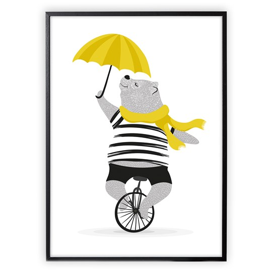 XO Posters Poster Mr Bear on Unicycle With Umbrella