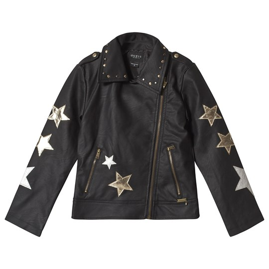 Guess Black Star Embroidered Pleather Jacket JBLK
