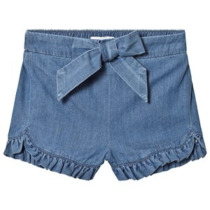 Image of Chloé Blue Denim Shorts with Ruffle Trim and Logo 12 months (3125260815)