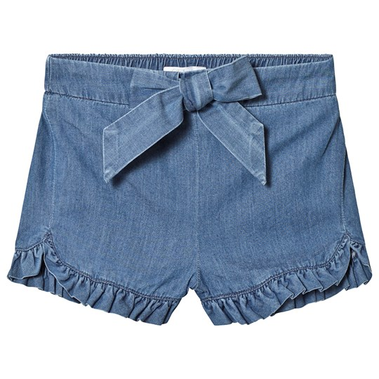 Chloé Шорты Blue Denim Shorts with Ruffle Trim and Logo