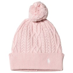 Ralph Lauren Pink Cable Knit Pom Pom Beanie with PP