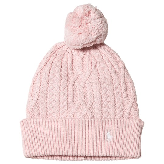 Ralph Lauren Pink Cable Knit Pom Pom Beanie with PP 002
