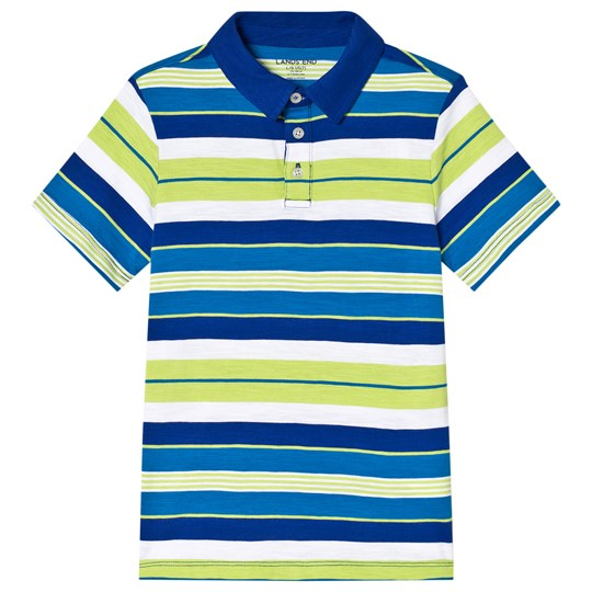 Lands' End Blue and Green Stripe Short Sleeve Polo 7LX