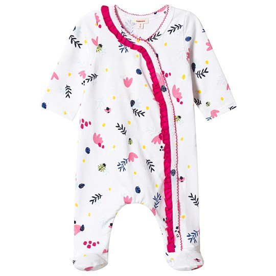 Catimini White Floral Print Frill Footed Baby Body 01