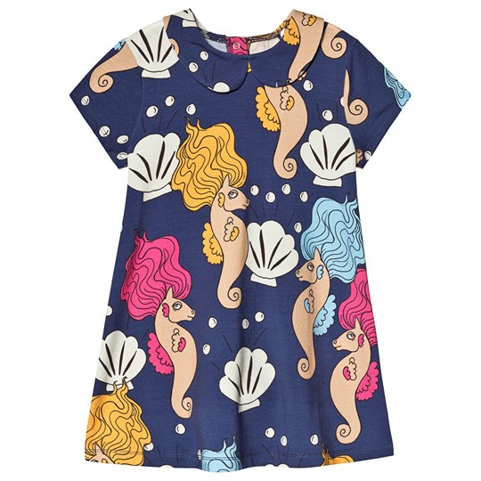 Mini Rodini Seahorse Collar Dress Navy Navy