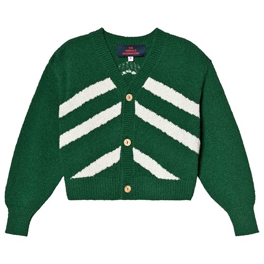 The Animals Observatory Stripes Raccoon Kids Cardigan Electric Green Electric Green