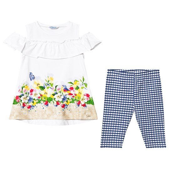 Mayoral Navy and White Leggings and Floral Tee Set 89