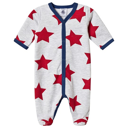 Petit Bateau Star Footed Baby Body Grey Poussiere/Multico