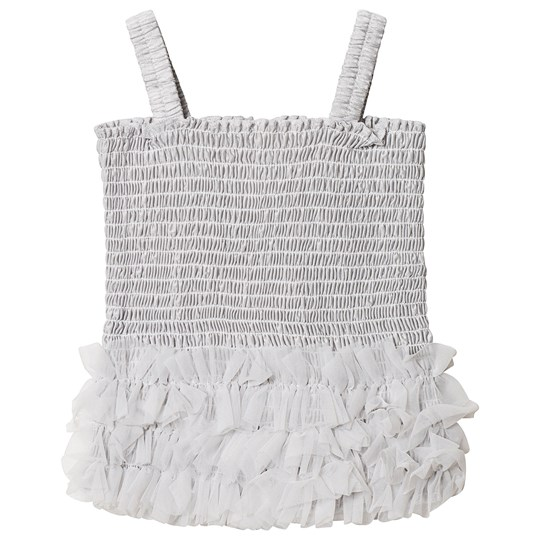 DOLLY by Le Petit Tom Frilly Top Silver Grey Silvergrey