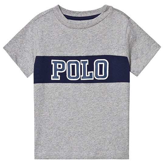 Ralph Lauren Grey and Navy Polo Logo Graphic Tee 004