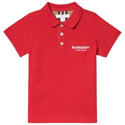 Burberry Red Wesley Logo Polo