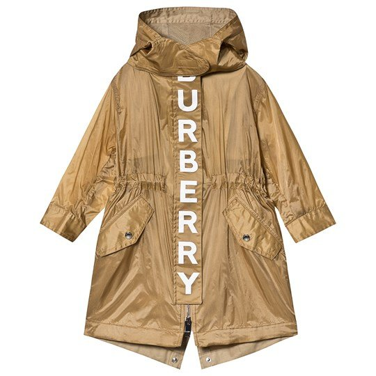 Burberry Beige Garvin Burberry Branded Hooded Coat A1366
