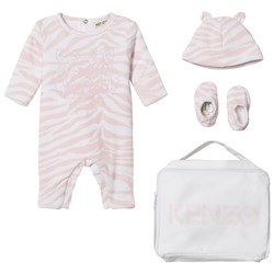 Kenzo Pink Tiger Print Padded Babygrow, Hat and Booties in Gift Bag