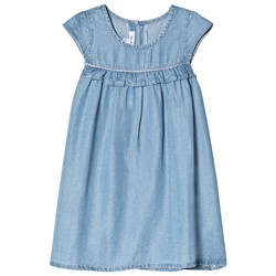 Absorba Blue Chambray Dress with Frill Details