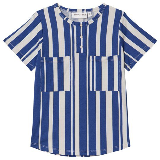 Mini Rodini Odd Stripe Baseball Tee Blue Blue