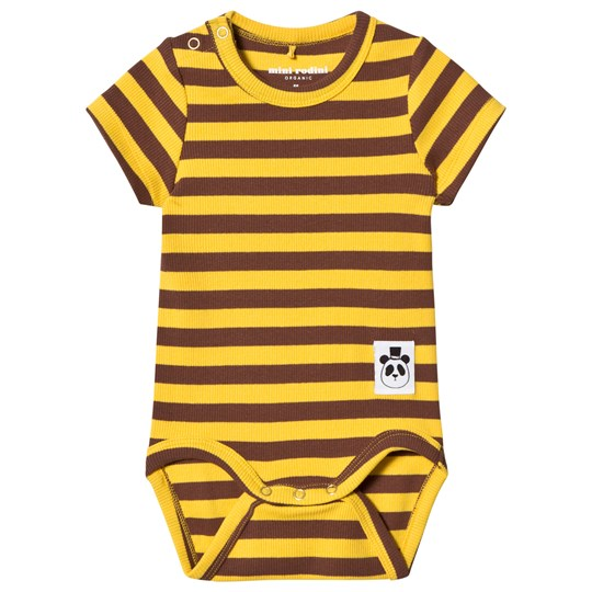 Mini Rodini Randig Ribbad Baby Body Gul Yellow