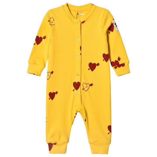 Mini Rodini Heart Rib One-Piece Yellow Yellow