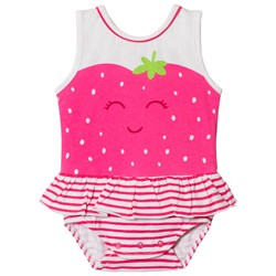 Mayoral Pink Strawberry Face and Frill Romper with Pink Headband