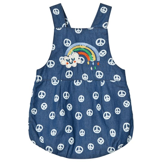 Tootsa MacGinty Rainbow Print And Peace Sign Romper In Blue Ink Blue