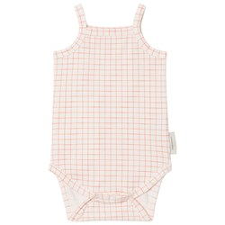 Tinycottons Grid Baby Body Off-White/Carmine