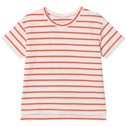 Tinycottons Small Stripes Tee Off-White/Carmine