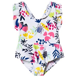 Image of Catimini White Floral Print Swimsuit 9 months (1289343)