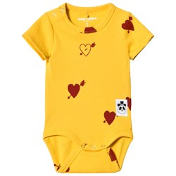 Mini Rodini Heart Rib Baby Body Yellow