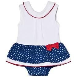 Mayoral White and Blue Spotty Skirt Baby Body