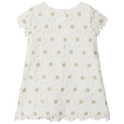 Mayoral White and Gold Flower Embroidered Dress