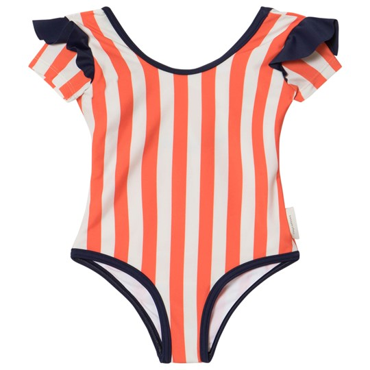 Tinycottons Stripes and Frills Swimsuit Stone/Carmine stone/carmine