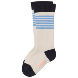 Tinycottons Stripes High Socks Stone/Cerulean Blue