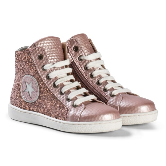 Bisgaard Shoe with Laces Rose/Glitter Rose-glitter