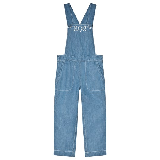 Cyrillus Blue Chambray Floral Embroidered Overalls 6404