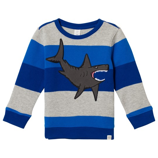 GAP Brilliant Blue Stripe Shark Sweatshirt Brilliant Blue