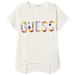Guess White Sequin and Beaded Tee