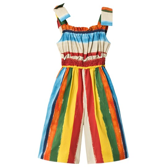 Dolce & Gabbana Multi Painted Stripe Smocked Jumpsuit HHR41