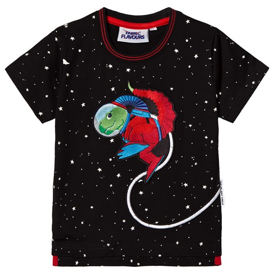 Fabric Flavours Black Out Of This World Space Dino T-Shirt Black