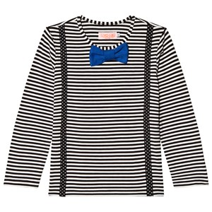 Image of BANGBANG Copenhagen Black and White Striped Braces and Bowtie Tee 6-12 months (1107576)