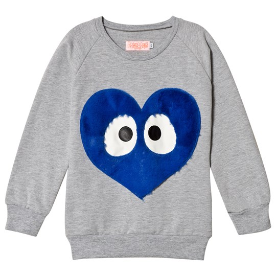 Wauw Capow Grey Sweatshirt with Blue Face Heart Musta