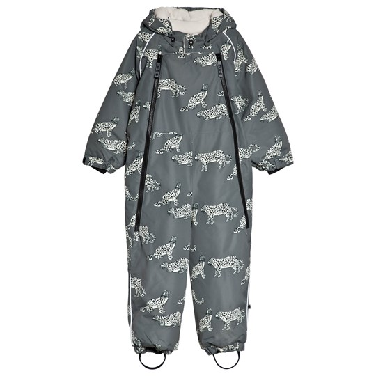 Småfolk Grey Leopard Print All in One Winter Coverall Steel Grey