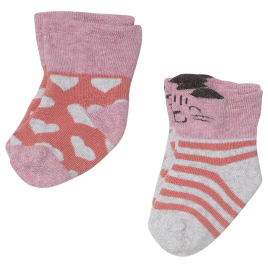 Melton 2-Pack Terry Baby Socks Cat/Hearts Pink Dusty Rose