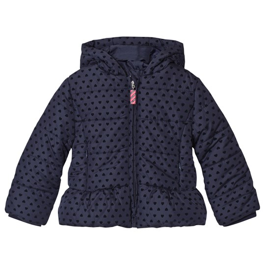 Billieblush Navy Flocked Heart Hooded Puffer Coat 85T