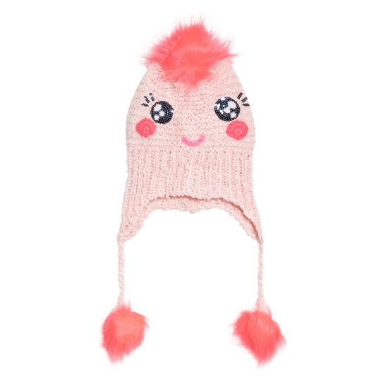 Billieblush Pink Fluffy Face and Pom Pom Hat 445