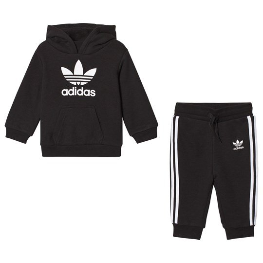 adidas Originals Black Trefoil Logo Infants Hoodie and Sweatpants Set Black