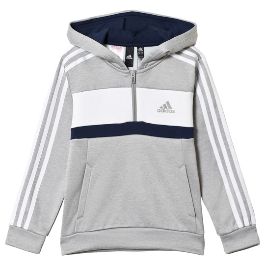 adidas Performance Grey Side Stripe Hoodie mgh solid grey/white/collegiate navy