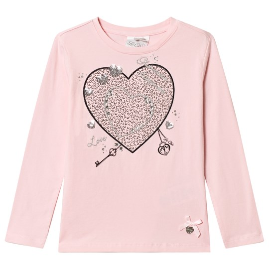 Le Chic Pink Leopard Heart Print Long Sleeve Tee Pink