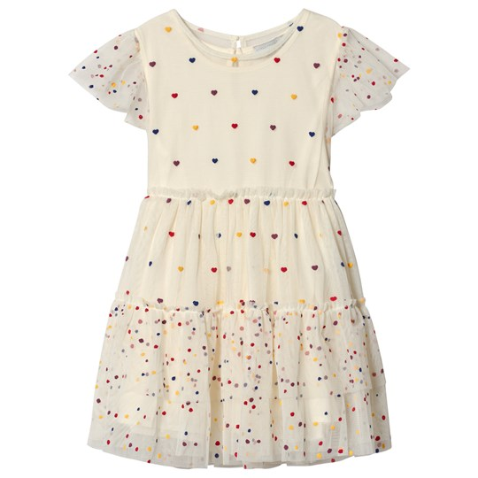 Stella McCartney Kids Off White Heart and Spot Tulle Dress 9085 - Multicolor Dots Pr